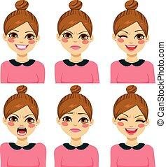 diferente, mulher, hipster, expressões