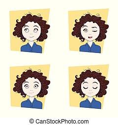 diferente, mulher, jovem, emoções, rosto, jogo, facial, menina, expressões