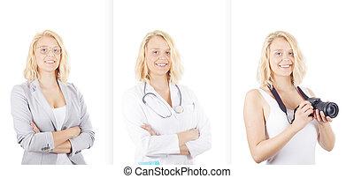 diferente, mulher, profissão, jovem