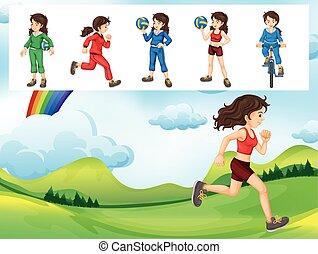 diferente, mulher, tipos, esportes