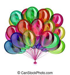 diferente, multicolored, cores, aniversário, lustroso, partido, balões