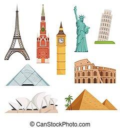 diferente, mundo, famosos, símbolos, jogo, isole, ligado, white., histórico, edifícios, landmarks., vetorial, ilustrações