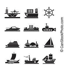 diferente, navios, bote, tipos