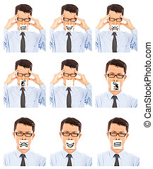 diferente, negócio, mostrar, negativo, expressão facial, ...