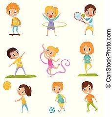 diferente, niños, clases, conjunto, el skateboarding, fútbol, tenis, deportes, vector, plano de fondo, yoga, ilustraciones, blanco, baloncesto, gimnasia