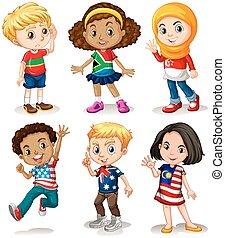 diferente, niños, países