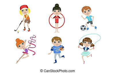 diferente, niños, saltar, conjunto, golf, niñas, clase, saltar, deportes, soga, niños, vector, ilustración, futbol, jugar al balompié