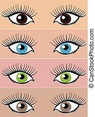 diferente, olhos, colorido