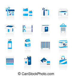 diferente, pacote, tipo, ícones