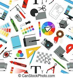 diferente, padrão, trabalho, seamless, artistas, desenhistas, ferramentas