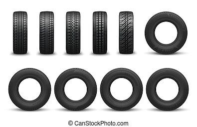 diferente, padrões, passo pneu, tipos