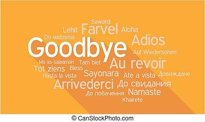 diferente, palabra, idiomas, etiqueta, adiós, nube