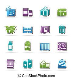 diferente, paquete, clase, iconos