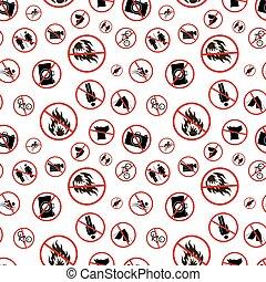 diferente, patrón, prohibido, señales, seamless, blanco