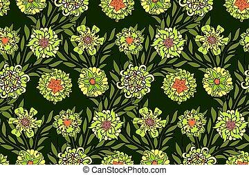 diferente, patrón, seamless, verde, floral, flores