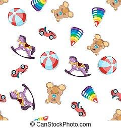 diferente, pattern., seamless, juguetes