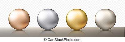 diferente, pelotas, eps10, oro, realista, o, sombras, ilustración, color., cuatro, esferas, vector, metálico, transparente, plata