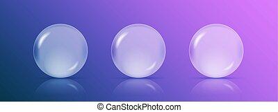 diferente, pelotas, eps10, oro, realista, o, sombras, ilustración, color., cuatro, esferas, vector, metálico, transparente
