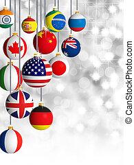 diferente, pelotas, navidad, banderas