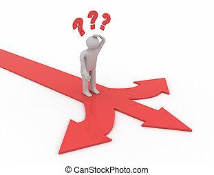 diferente, pensamiento, actuación, flechas, tres, directions., confuso, rojo, hombre