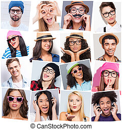 diferente, pessoas, carefree., jovem, emoções, colagem, diverso, multi-étnico, expressar