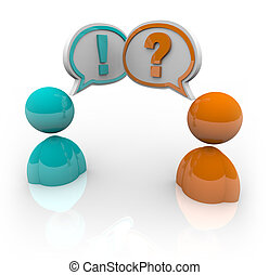 diferente, pessoas, -, dois, opitnions, debate, falando