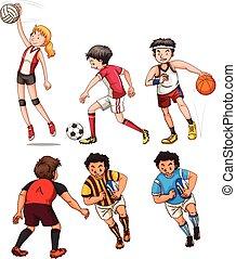 diferente, pessoas, esportes