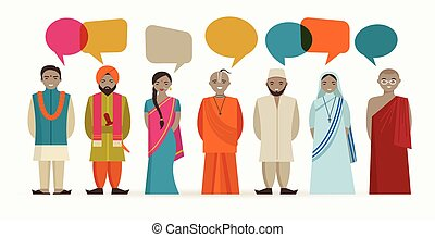 diferente, pessoas, -, indianas, religiosas, conversa
