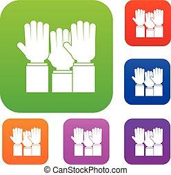 diferente, pessoas, mãos levantadas, cima, jogo, cor, cobrança
