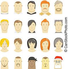 diferente, pessoas, modernos, isolado, estilo, retro, caras, branca