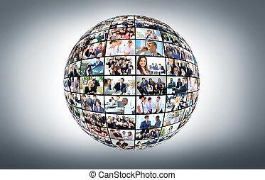 diferente, pessoas negócio, muitos, globo, isolado, fundo, branca