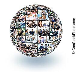 diferente, pessoas negócio, muitos, globo, isolado, fundo,...