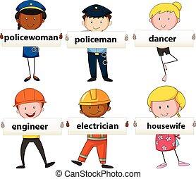 diferente, pessoas, ocupações