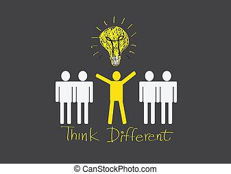 diferente, pessoas, pensar, ícones