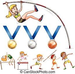 diferente, pista, brinca campo, desporto, tipo, medalhas