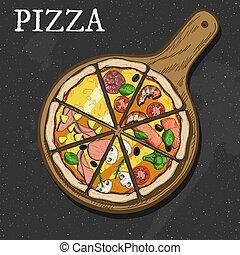 diferente, pizza, fatias