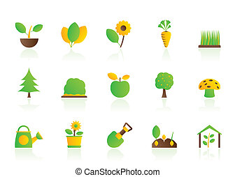 diferente, plantas, y, jardinería, icono