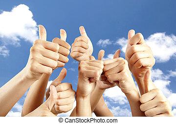 diferente, polegar, muitos, cima, fundo, mãos, nuvem