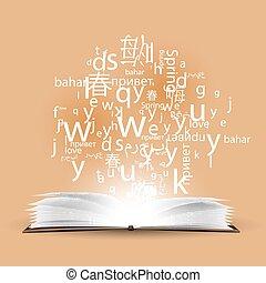diferente, polyglot., languages., aprendizagem, língua, falar