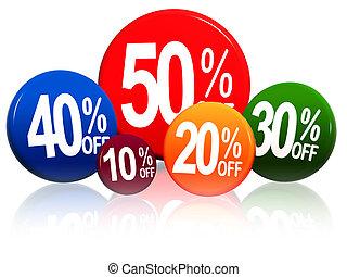 diferente, porcentagens, em, cor, círculos