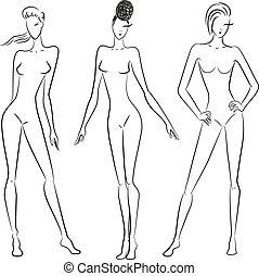 diferente, poses, esboço, mulheres