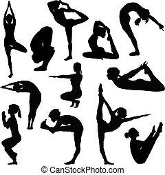 diferente, posturas, yoga