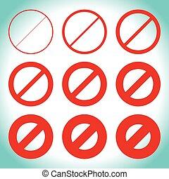 diferente, prohibtion, señal, restricción, thicknesses,...