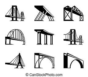 diferente, puentes, en, perspectiva