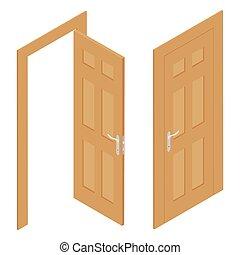 diferente, puerta, blanco, aislado, conjunto, de madera