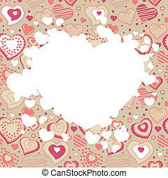 diferente, quadro, valentine, corações, branco vermelho