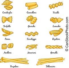 diferente, quadros, estilo, alimento., tradicional, italiano, caricatura, tipos, pasta.