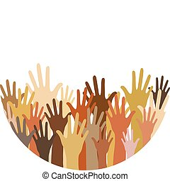 diferente, raça, mãos, rased, cima