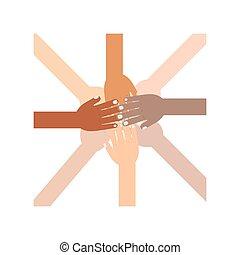 diferente, raças, conectado, mãos