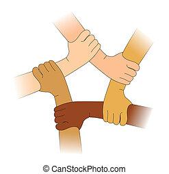 diferente, raças, mãos